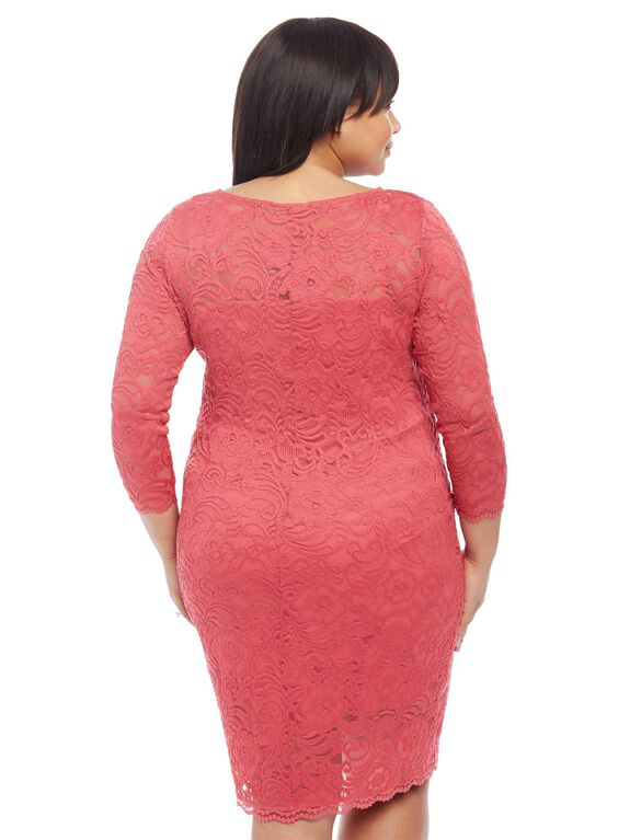 Plus Size Jessica Simpson Lace Body Con Maternity Dress, Holly Berry