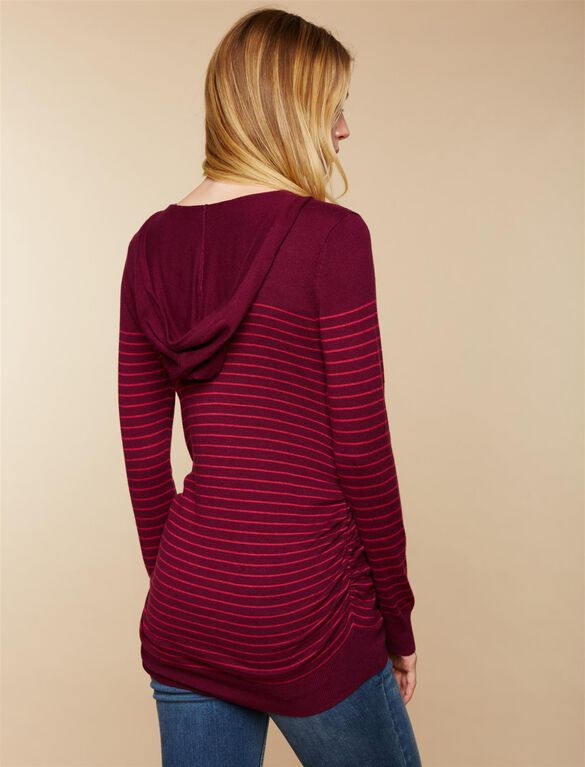 Hooded Maternity Sweater, Burgundy Pink Stripe