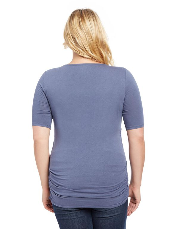 Plus Size Side Ruched Maternity Tee- Night Blue, Night Blue