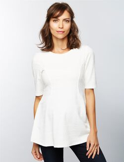 Jacquard Peplum Maternity Top, Soft White
