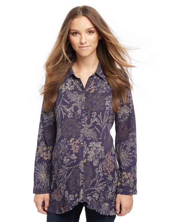 Ruffled Maternity Shirt, Navy Floral