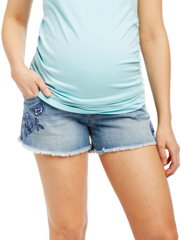 Secret Fit Belly Embroidered Fray Hem Maternity Shorts, Light Wash