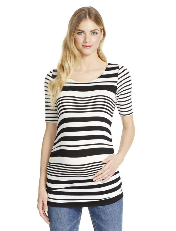 Jessica Simpson Multi Stripe Maternity Tee, Black/White