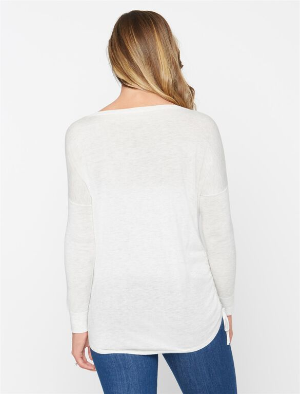 Splendid Ruched Maternity Sweater, Heather White