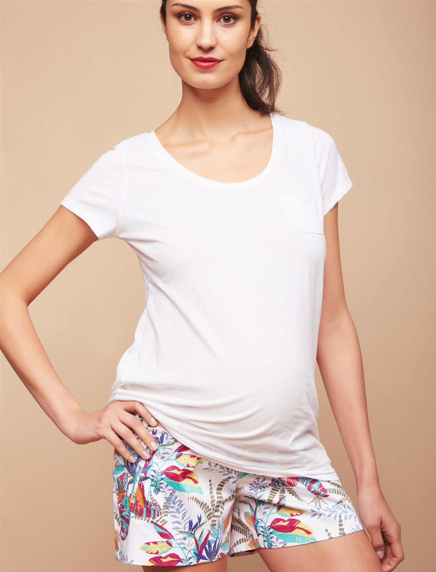 Secret Fit Belly Sateen Maternity Shorts- Palm Print