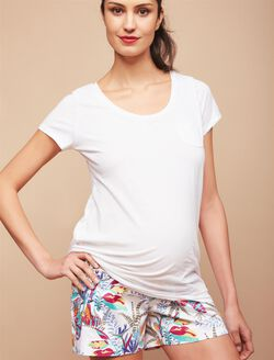 Secret Fit Belly Sateen Maternity Shorts- Palm Print, Palm Print