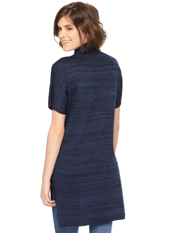 Turtleneck Short Sleeve Maternity Sweater Tunic, Navy
