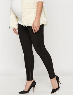 No Belly Leather Slim Leg Maternity Pants, Black