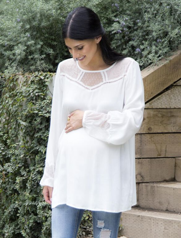 Wendy Bellissimo Lace Trim Maternity Blouse, Egret