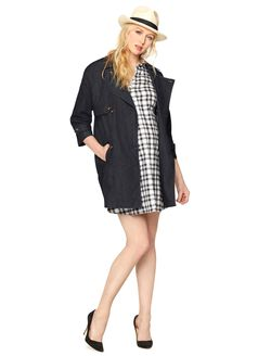 Luxe Essentials Denim Cocoon Trench Coat, Indigo Denim