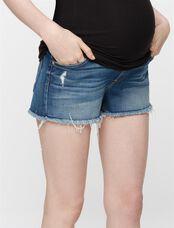 7 For All Mankind Secret Fit Belly Fray Hem Maternity Shorts, Bright Indigo