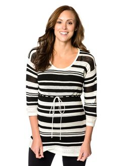 Striped Babydoll Maternity Sweater, Black/White