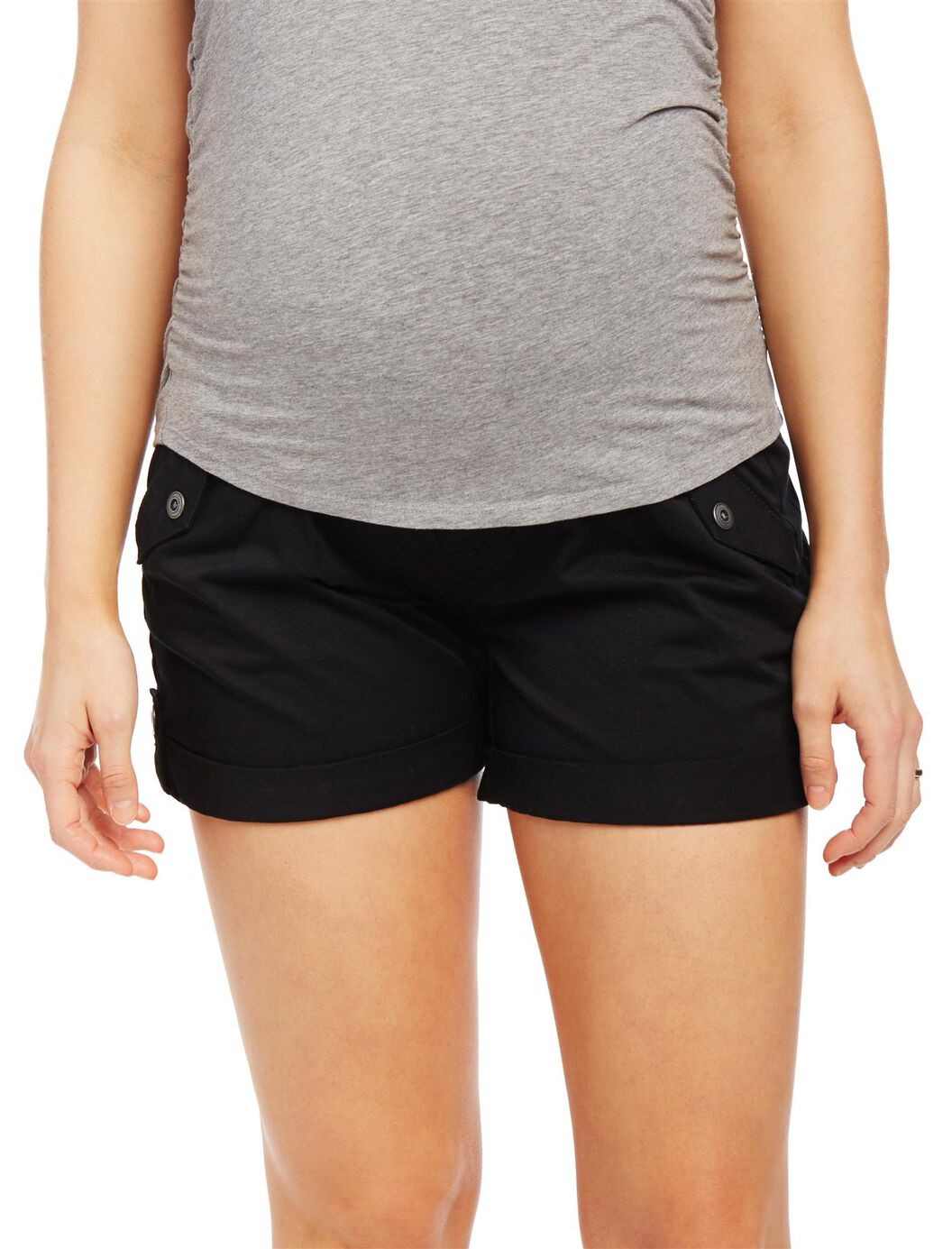 Secret Fit Belly Roll Hem Maternity Cargo Shorts at Motherhood Maternity in Victor, NY | Tuggl