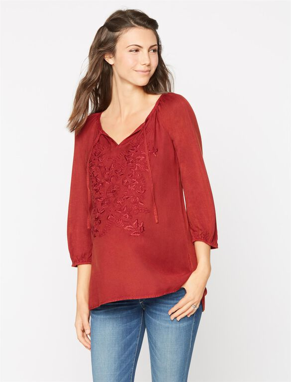 Embroidered Maternity Top- Rust, Mineral Rust