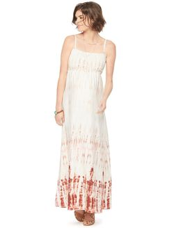 Smocked Maternity Maxi Dress, Neutral Tie Dye