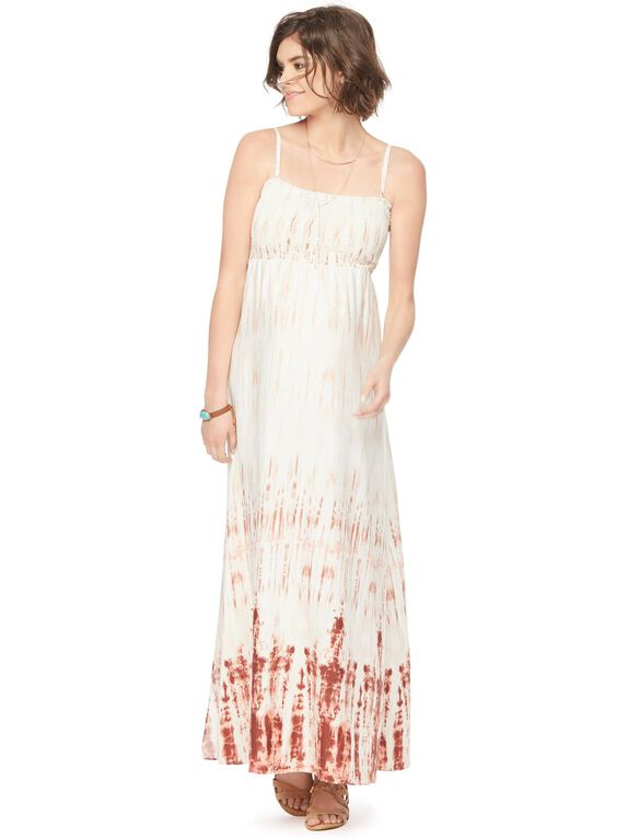 Smocked Maternity Maxi Dress, Neutral Tie Dye