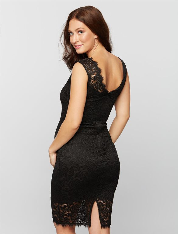 Lace Trim Maternity Dress, Black.