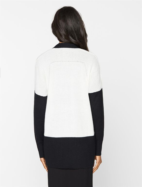 Vince Maternity Colorblock Cardigan, Off White/Black