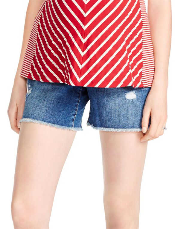 Jessica Simpson Secret Fit Belly Studded Maternity Shorts, Light Wash