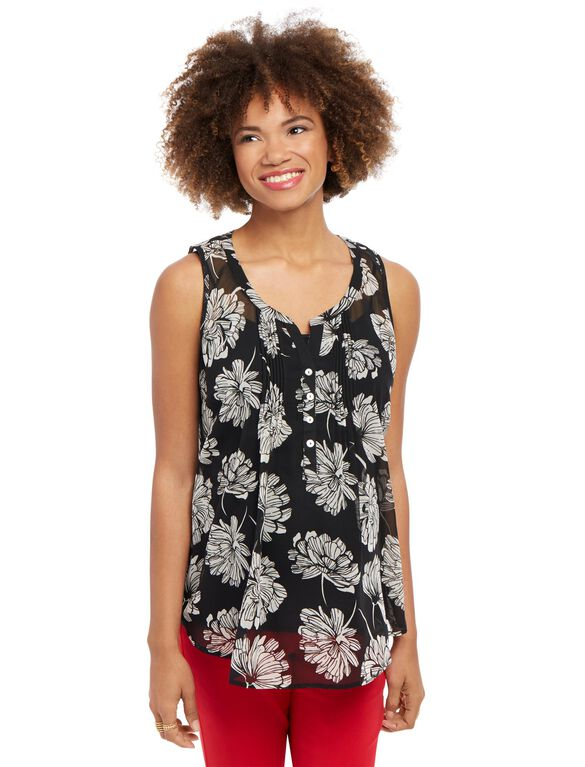 Pleated Maternity Tank, Black/White Floral