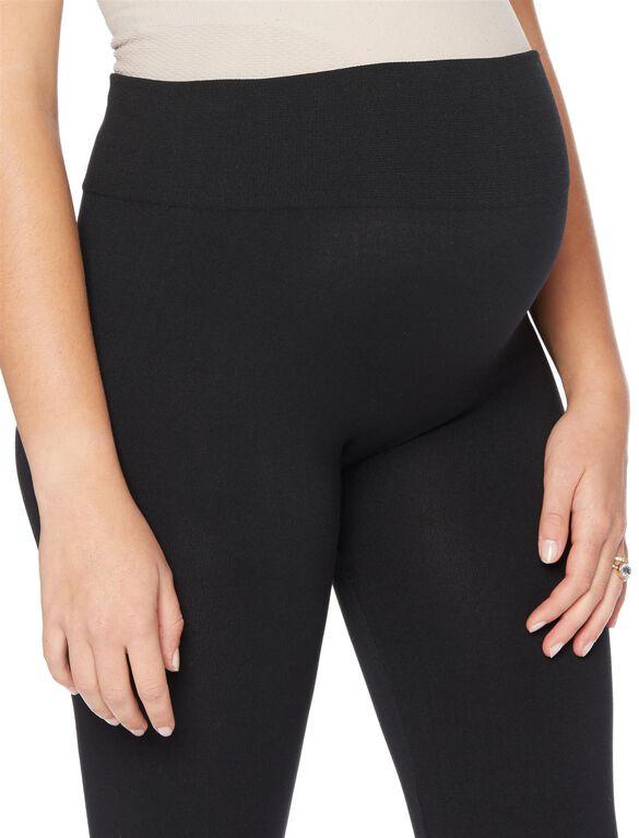 Seamless Fleece Maternity Leggings- Black, Black