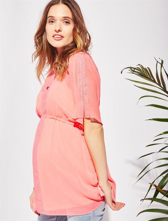 Split Shoulder Babydoll Maternity Blouse, Pink