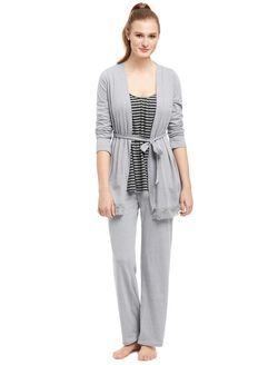 Bump In The Night Lace Trim Nursing 3 Piece Pajama Set, Grey