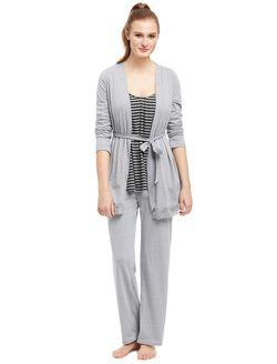 Bump In The Night Lace Trim Nursing 3 Piece Pajama Set, Grey