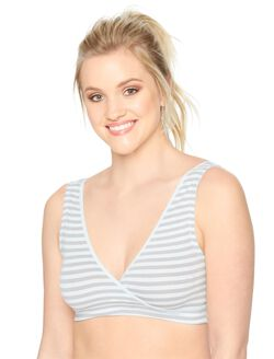 Wrap Nursing Sleep Bra (2 Pack), Grey Stripe/Blue