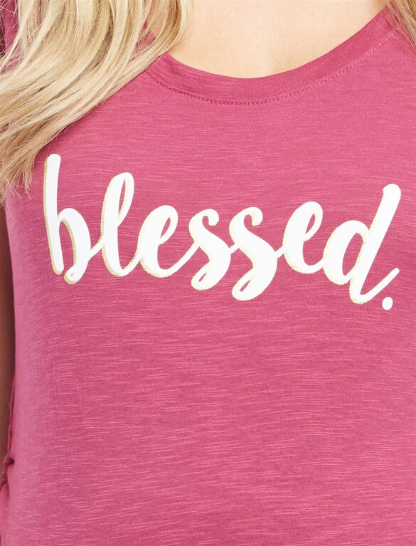 Blessed Graphic Maternity Tee, Blessed Raspberry