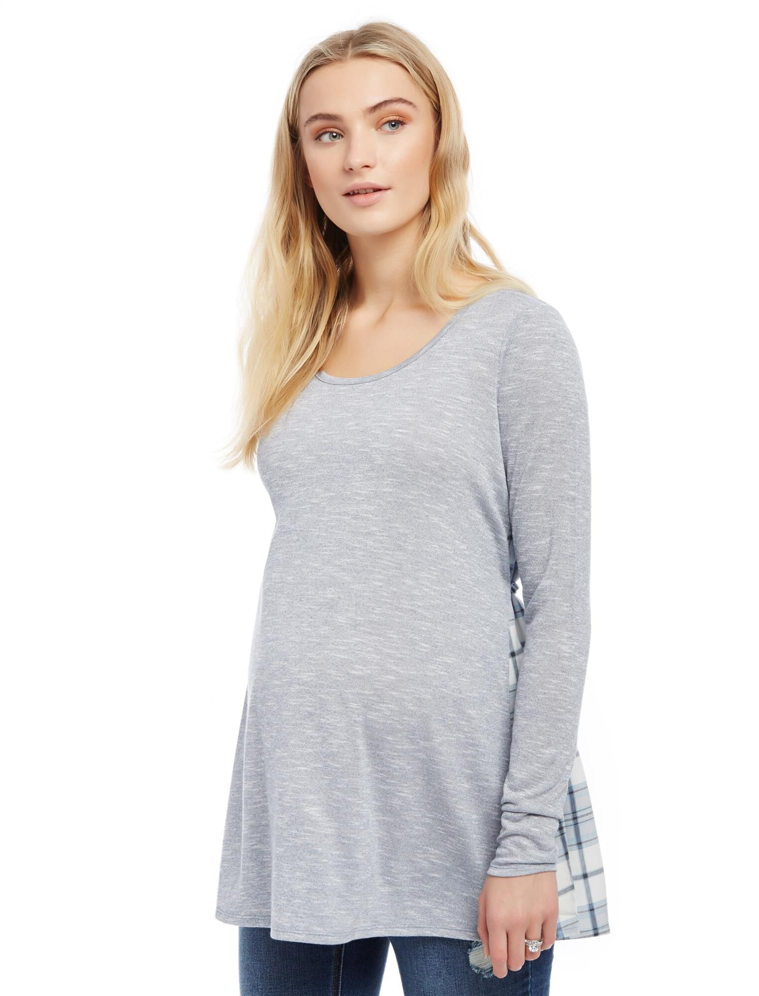 Knit Plaid Woven Combo Maternity Top