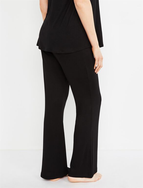 Bow Detail Maternity Sleep Pants- Solids, Black