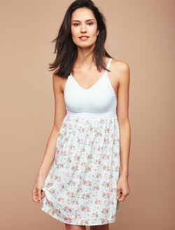 Seamless Bodice Nursing Nightgown- Floral, Floral
