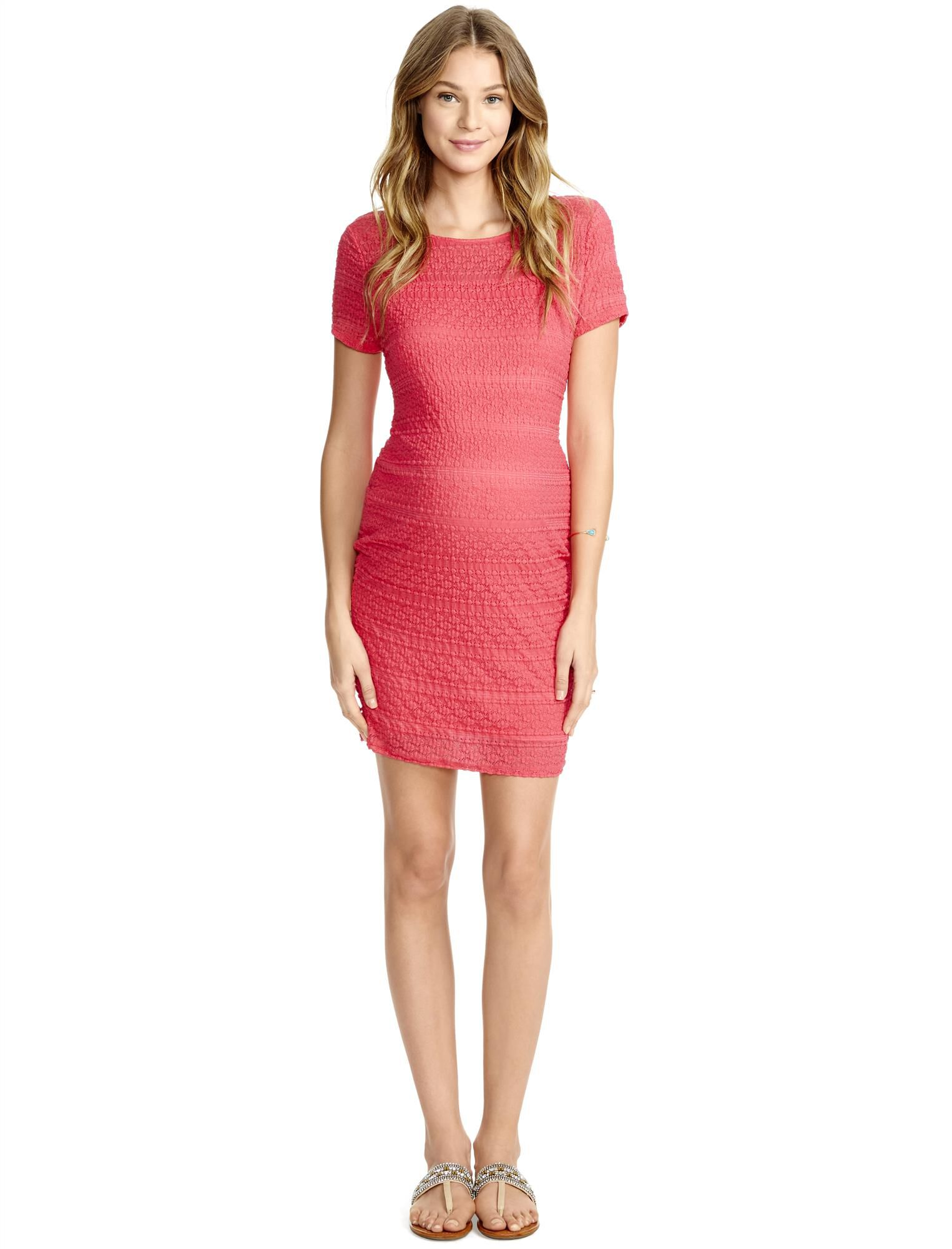 Jessica Simpson Lace Bodycon Maternity Dress- Coral