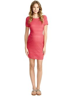 Jessica Simpson Lace Bodycon Maternity Dress- Coral, Red
