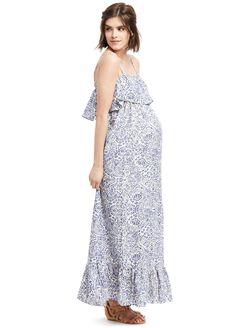 Ruffle Maternity Maxi Dress- Paisley, Blue/White Print