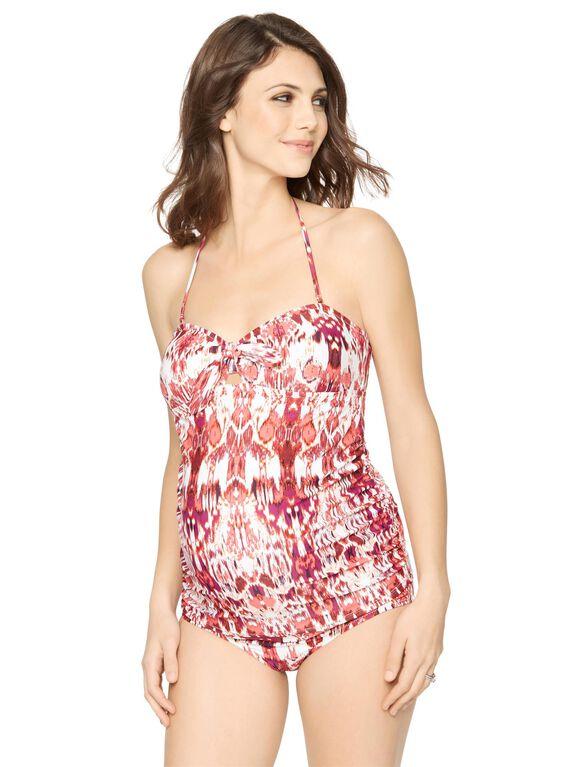 Ikat Knot Front Maternity Tankini Swimsuit, Ikat Print