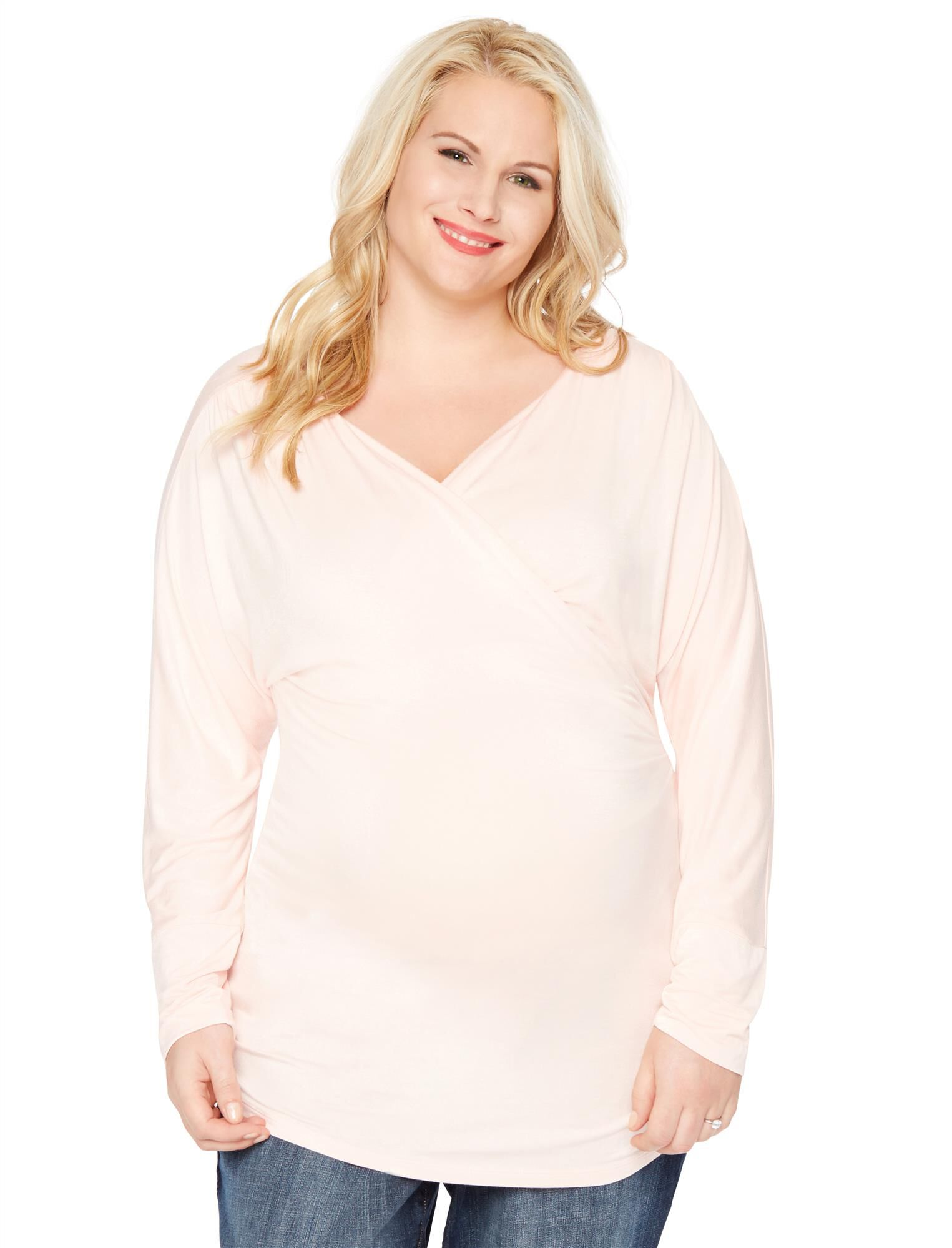 Plus Size Surplice Neckline Maternity Top