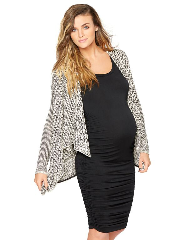 Open Front Maternity Cardigan, Cream/Black