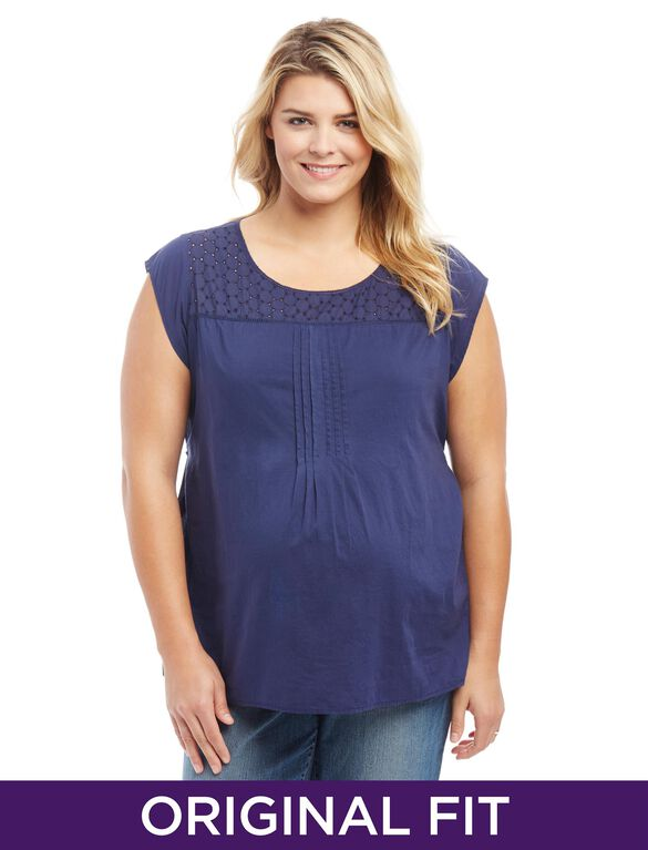 Plus Size Lace Trim Pleated Maternity Top, Navy