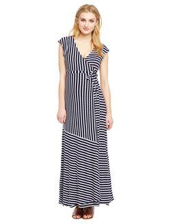 Jessica Simpson Variegated Striped Maternity Maxi Dress- Blue White Stripe, Navy/Cloud Stripe