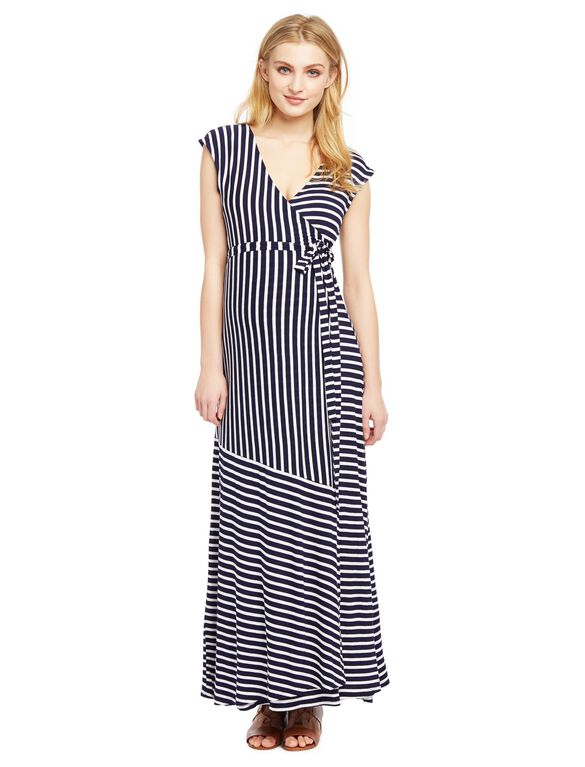 Jessica Simpson Variegated Striped Maternity Maxi Dress- Blue White Stripe, Navy/Cloud Stripe