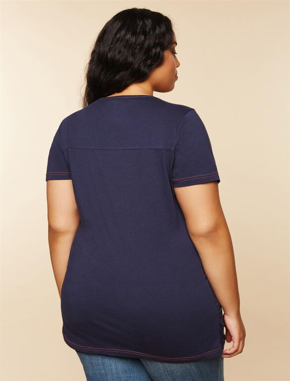 Plus Size Ruched Maternity T Shirt, Blue Bears