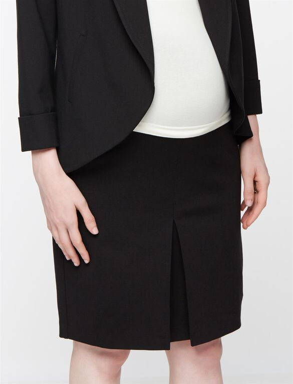 Secret Fit Belly Pleat Front Ponte Maternity Skirt, Black