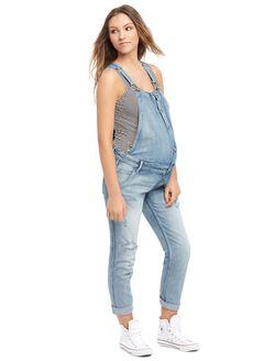 Destructed Skinny Leg Maternity Denim Overall, Light Wash