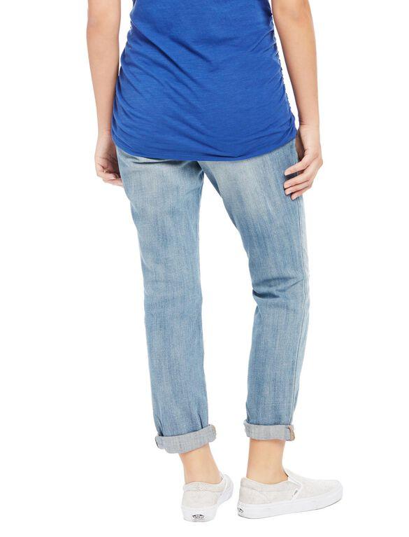 Indigo Blue Secret Fit Belly Boyfriend Maternity Jeans- Light Wash, Light Wash