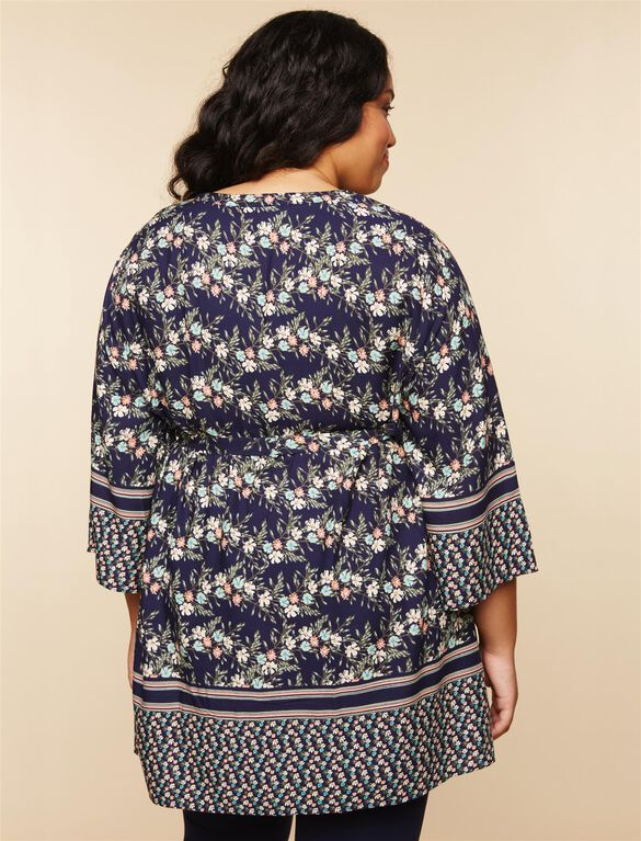Plus Size Removable Waist Tie Maternity Tunic, NAVY FLORAL PRINT
