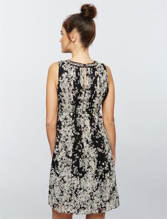 Embellished Neckline Maternity Dress- Floral, Blk/Wht Floral Print