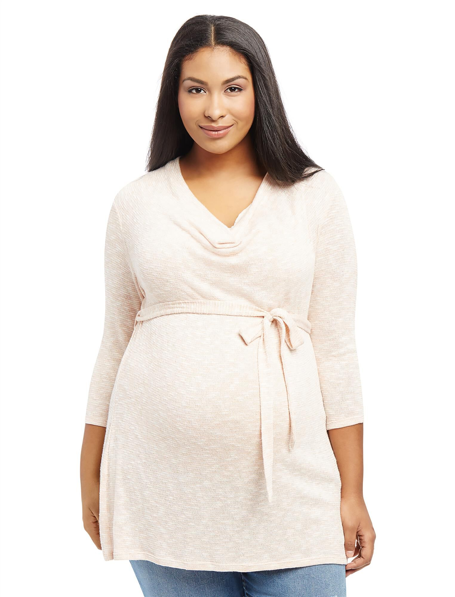-Plus Size Cowl Neck Tie Detail Maternity Tunic