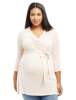Plus Size Cowl Neck Tie Detail Maternity Tunic, Pink